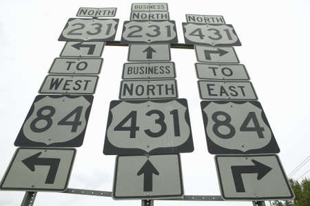 everywhere: State highway signs pointing in all directions in Southeast USA Stock Photo