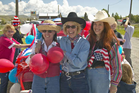 Three women dressed for the Fourth of July in Lima Montana