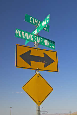 Morning star mining road sign in Mojave Desert of Southern California photo
