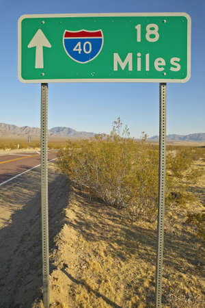 Interstate Highway sign for Interstate 15 in Southern California in Mojave Desert Banco de Imagens