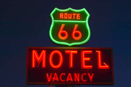 advertise with us: Route 66 neon sign in Barstow California