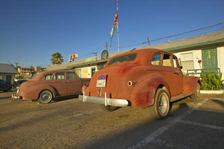 Historic vintage roadside motel on old Route 66 welcomes old cars and guests in Barstow California Stock Photo - 19962356