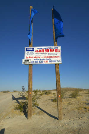 american banker: 40 acres for sale sign in the desert of Southern California near Barstow California