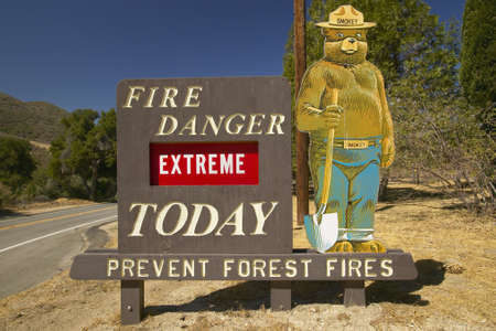 Extreme Fire Hazard proclaims Smoky the Bear near Lake Hughes California