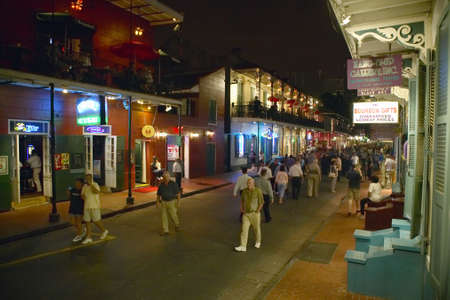 Night life with lights on Bourbon Street in French Quarter New Orleans, Louisiana Stock Photo - 19962143