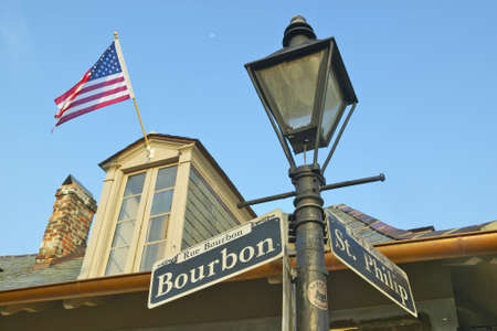 orleans parish: Bourbon Street and St. Philips Street and Lamp post in French Quarter of New Orleans, La. Editorial