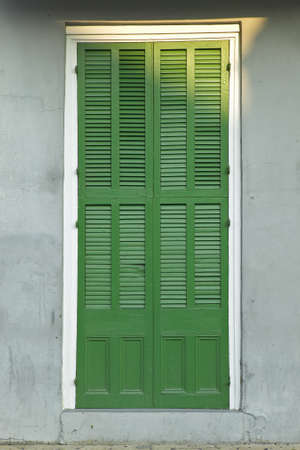 orleans parish: Old freshly painted doors in French Quarter near Bourbon Street in New Orleans, Louisiana Stock Photo