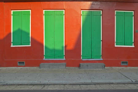 orleans parish: Old freshly painted doors and windows in French Quarter near Bourbon Street in New Orleans, Louisiana