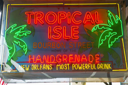 Tropical Isle neon sign in French Quarter of New Orleans, Louisiana Stock Photo - 19962196