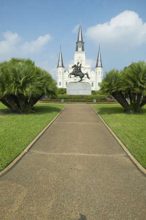 orleans parish: Andrew Jackson Statue & St. Louis Cathedral, Jackson Square in New Orleans, Louisiana