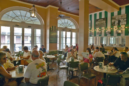 Interior of coffee house in French Quarter of New Orleans, Louisiana in the morning