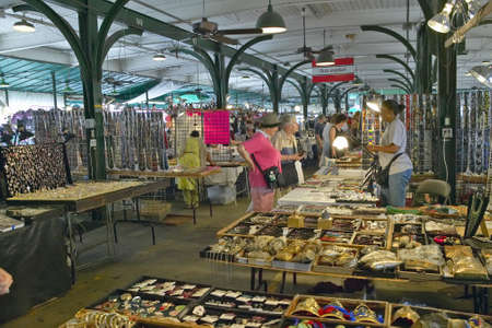 Interior shopping in historic district market of French Quarter of New Orleans, Louisiana