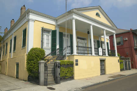 orleans parish: Historic old yellow home in French Quarter of New Orleans, Louisiana