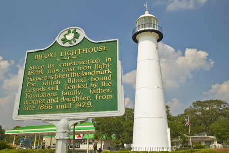 ms: Biloxi Lighthouse and information sign in Biloxi, MS Editorial