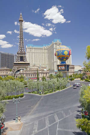 nv: Paris Casino and Eiffel Tower viewed from Bellagio Casino in Las Vegas, NV