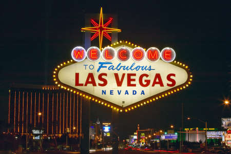 welcome sign: Colorful sign reads Welcome to Fabulous Las Vegas, Nevada at night Editorial
