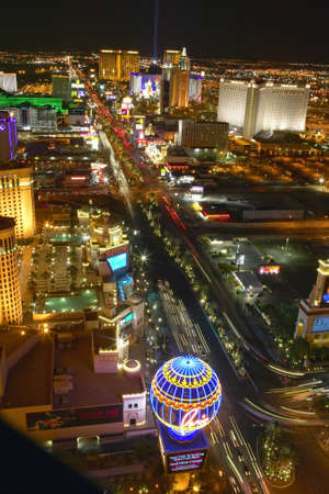 Aerial view at night from Eiffel Tower of Las Vegas Strip and neon lights, Las Vegas, NV Imagens - 19962433