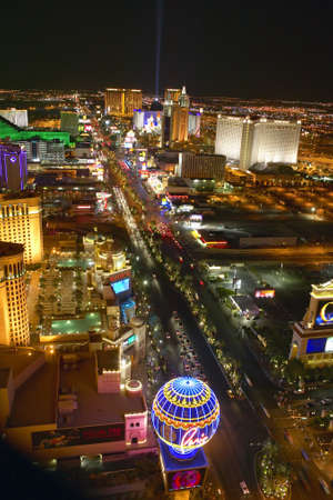 Aerial view at night from Eiffel Tower of Las Vegas Strip and neon lights, Las Vegas, NV