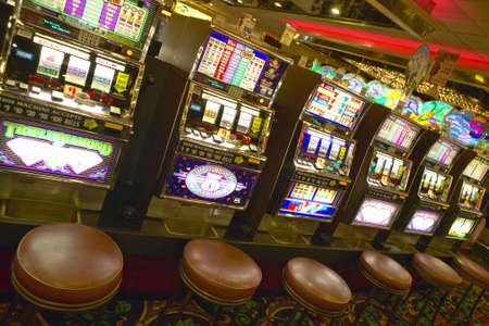 machines: Row of slot machines in Las Vegas, NV