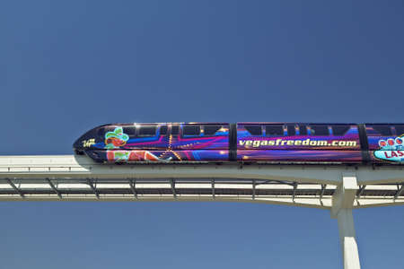 nv: Monorail train with tourists in Las Vegas, NV