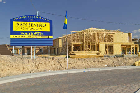 property development: Desert construction of new homes in Clark County, Las Vegas, NV
