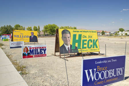 voters: Election posters encouraging voters to vote in Clark County near Las Vegas, NV