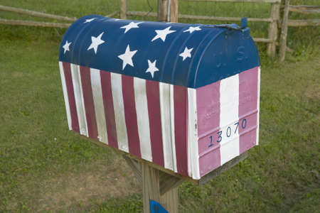 ga: Red White and Blue US Flag Mailbox in Central GA
