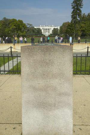 milepost: 0 Milepost near White House in Washington D.C., mileage marker for U.S. Roads Editorial