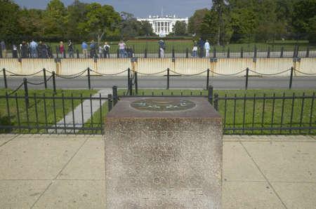 milepost: 0 Milepost near White House in Washington D.C., mileage marker for US Roads Editorial