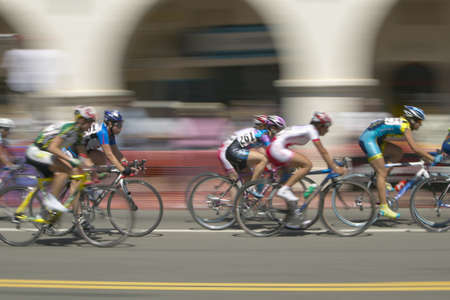 amateur: Amateur Men Bicyclists competing in the Garrett Lemire Memorial Grand Prix National Racing Circuit (NRC) on April 10, 2005 in Ojai, CA Editorial