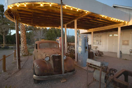 near death: An old car at an old antique gas station in California near Death Valley National Park entrance