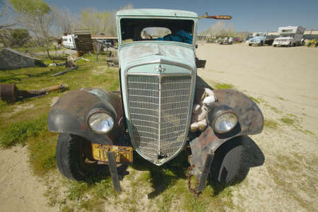 An antique abandoned truck on the roadside near Barstow, CA off of Route 59