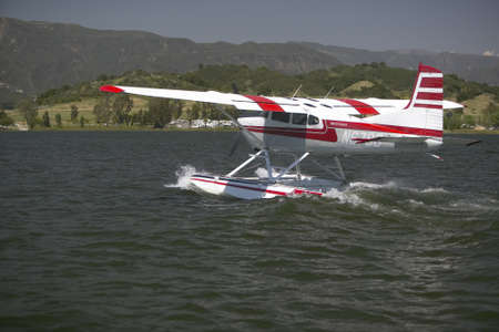 amphibious: Amphibious seaplane landing on Lake Casitas, Ojai, California
