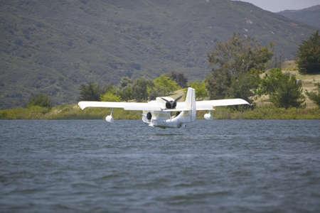 the amphibious: CB Amphibious seaplane landing on Lake Casitas, Ojai, California
