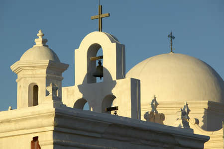 architrave: Historic white Mission of San Xavier del Bac, south of Tucson Arizona, part of the Spanish missions in the southwest USA Editorial