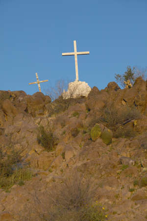 southwest usa: Cross over historic white Mission of San Xavier del Bac, south of Tucson Arizona, part of the Spanish missions in the southwest USA