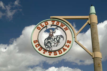 scottsdale: A circular sign showing Old Town in Scottsdale, Arizona