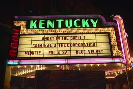 kentucky: Lexington Kentucky neon marquee sign for movie theater saying Kentucky Editorial