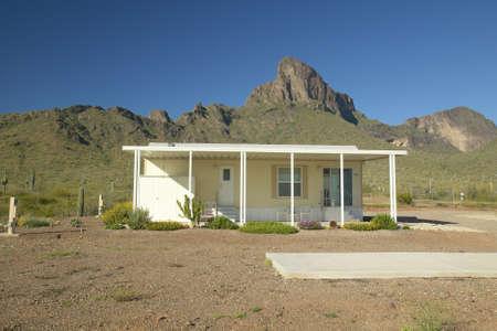modular home: White modular home in the desert near Picacho Peak State Park, AZ