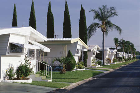 Street inside of a mobile home park, Florida Editorial