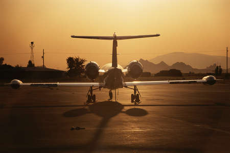 lear: Lear jet at sunrise