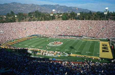 Opening kickoff at 77th Rose Bowl Game in Pasadena, California