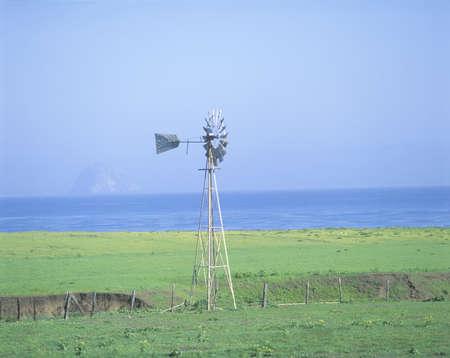 Wooden windmill in a field, Morro Bay, California