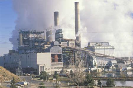 Smokestacks at a Denver Utility Commission power plant, Denver, Colorado