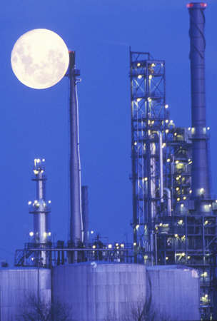 An industrial moonrise over a chemical plant in Delaware
