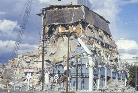 northridge: A demolished building at Olympic Blvd after the Northridge earthquake in 1994