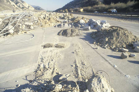 The remnants of a freeway collapse after the Northridge earthquake in 1994