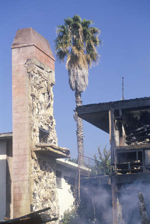 northridge: An apartment building on fire as a result of the Northridge earthquake in 1994 Editorial