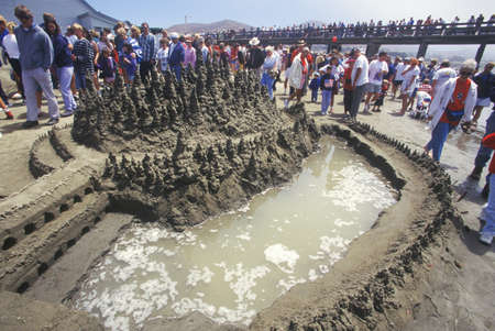 sightseers: Sand Castle Sculpting Contest, Cayucos, California Editorial