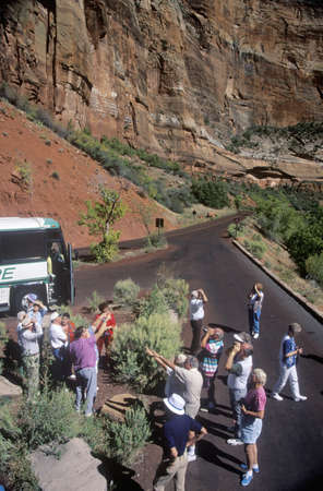 sightseers: German Tourists at Zion National Park, Utah Editorial